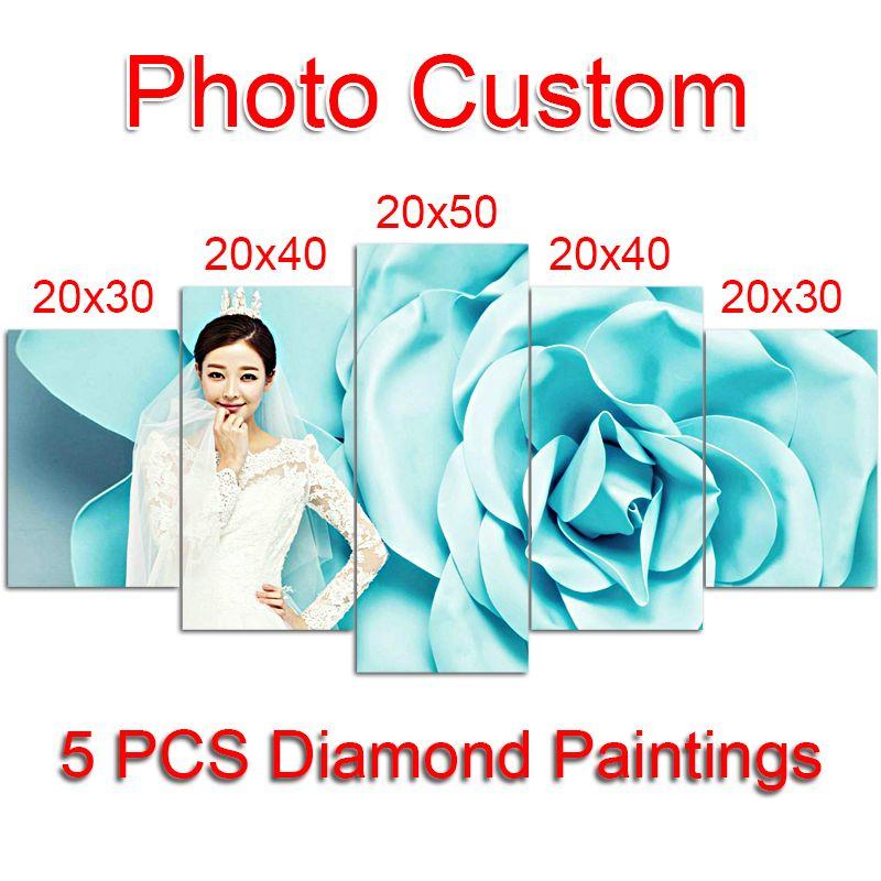 5 PCS Photo Custom Diamond Painting Cross Stitch Full Square Picture of Rhinestone DIY Diamond Mosaic Diamond Embroidery