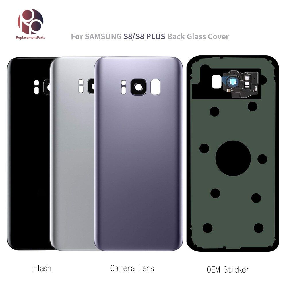 New Glass Rear Battery Cover Case For Samsung Galaxy S8 G950 S8+ G955 S8 Plus Back Glass Housing Cover+Sticker+Camera Lens OEM