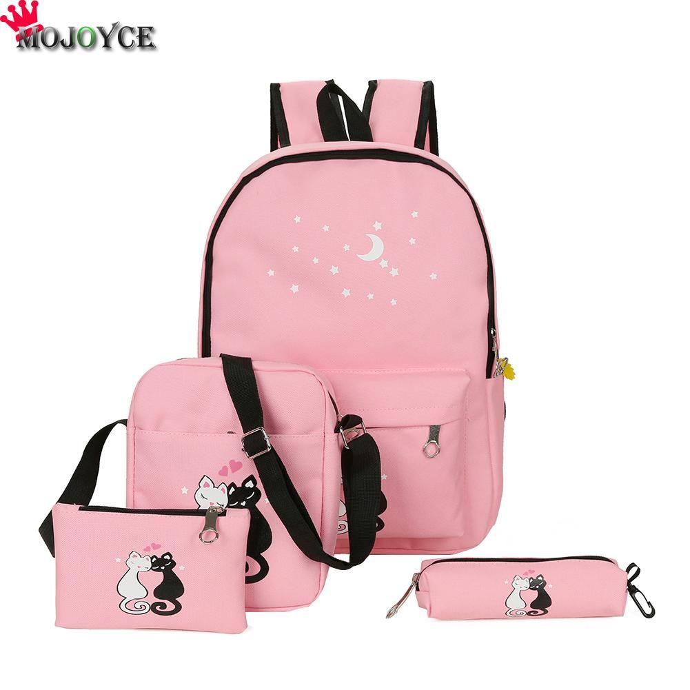 4cs/set Canvas Women Backpacks Schoolbag Printing Cute Cat School Bag Backpack For Teenager Girls Green Rucksack Moclila
