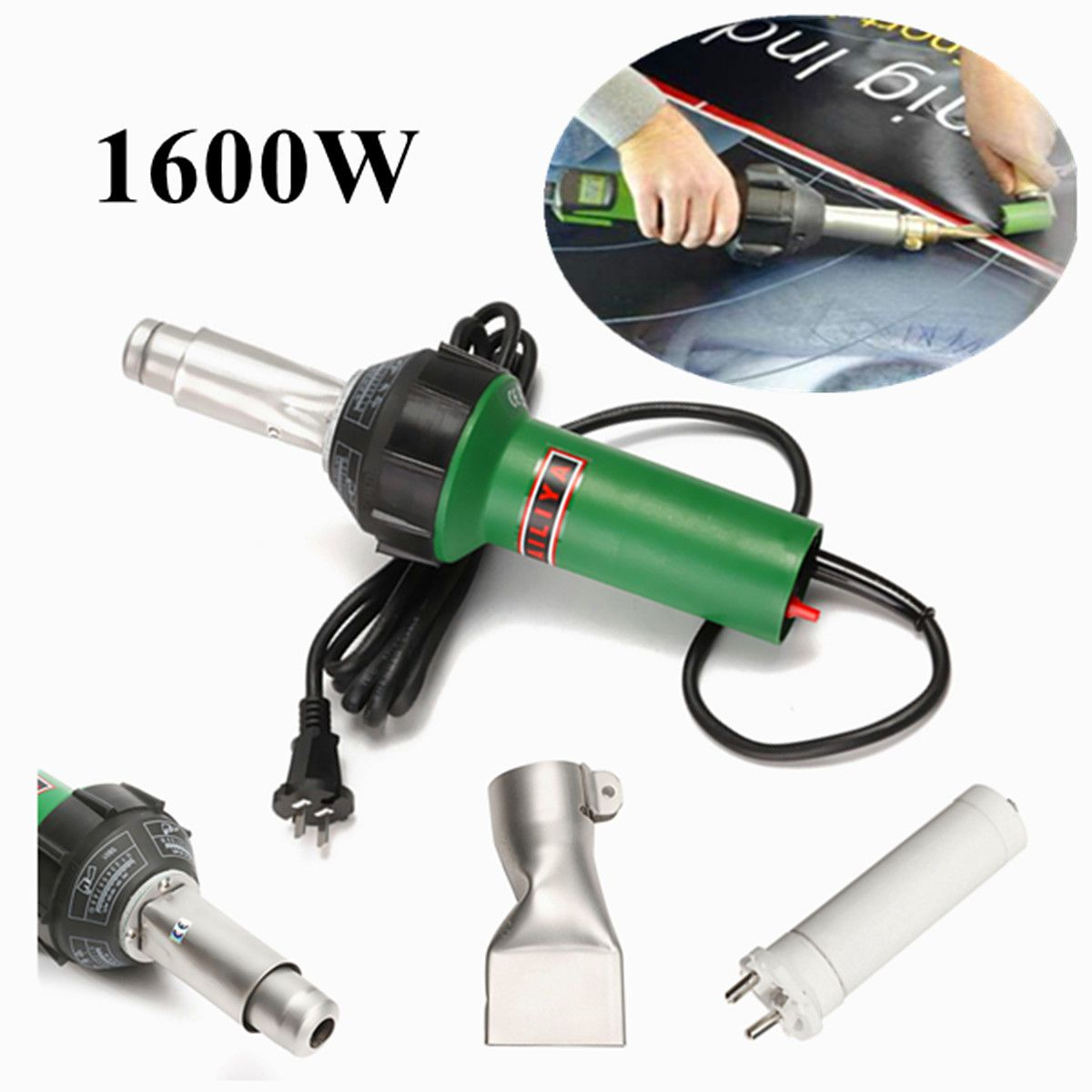 1600W AC 220V 50/60Hz Hot Air Torch Plastic Welding-Gun For Welder + Flat Nose Wholesale Price High Quality