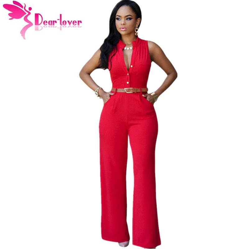 DearLover Fashion Big Women Sleeveless Maxi Overalls Belted Wide Leg Jumpsuit 7 <font><b>Colors</b></font> S-2XL Plus Size macacao long pant LC60932