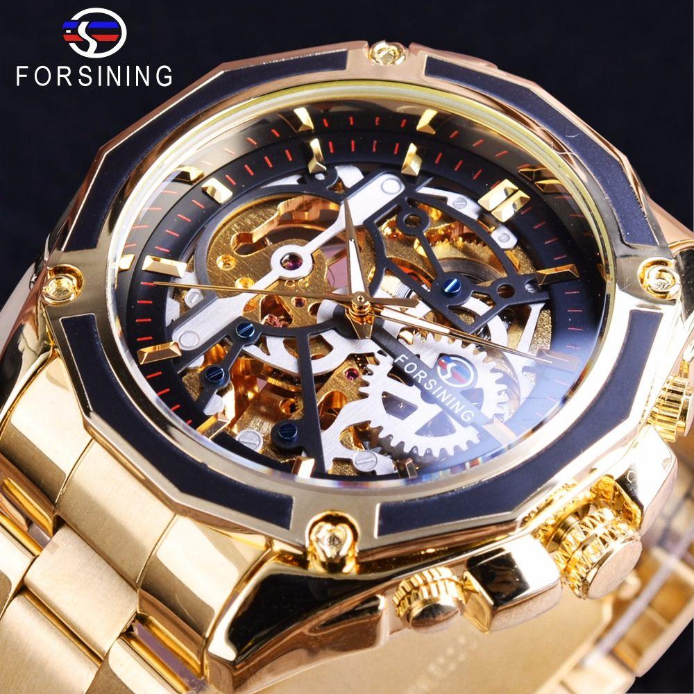 Forsining 2017 nouvelle Collection boîtier Transparent en acier inoxydable doré squelette de luxe Design hommes montre Top marque montre automatique