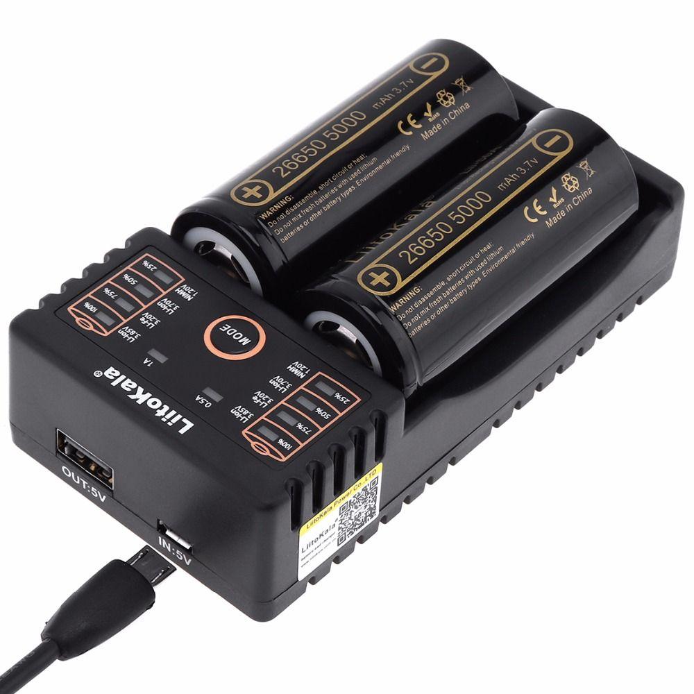 LiitoKala Lii-202 battery charger+2pcs HK LiitoKala Lii-50A 26650 5000mah Rechargeable battery for flashlight,40-50A discharge