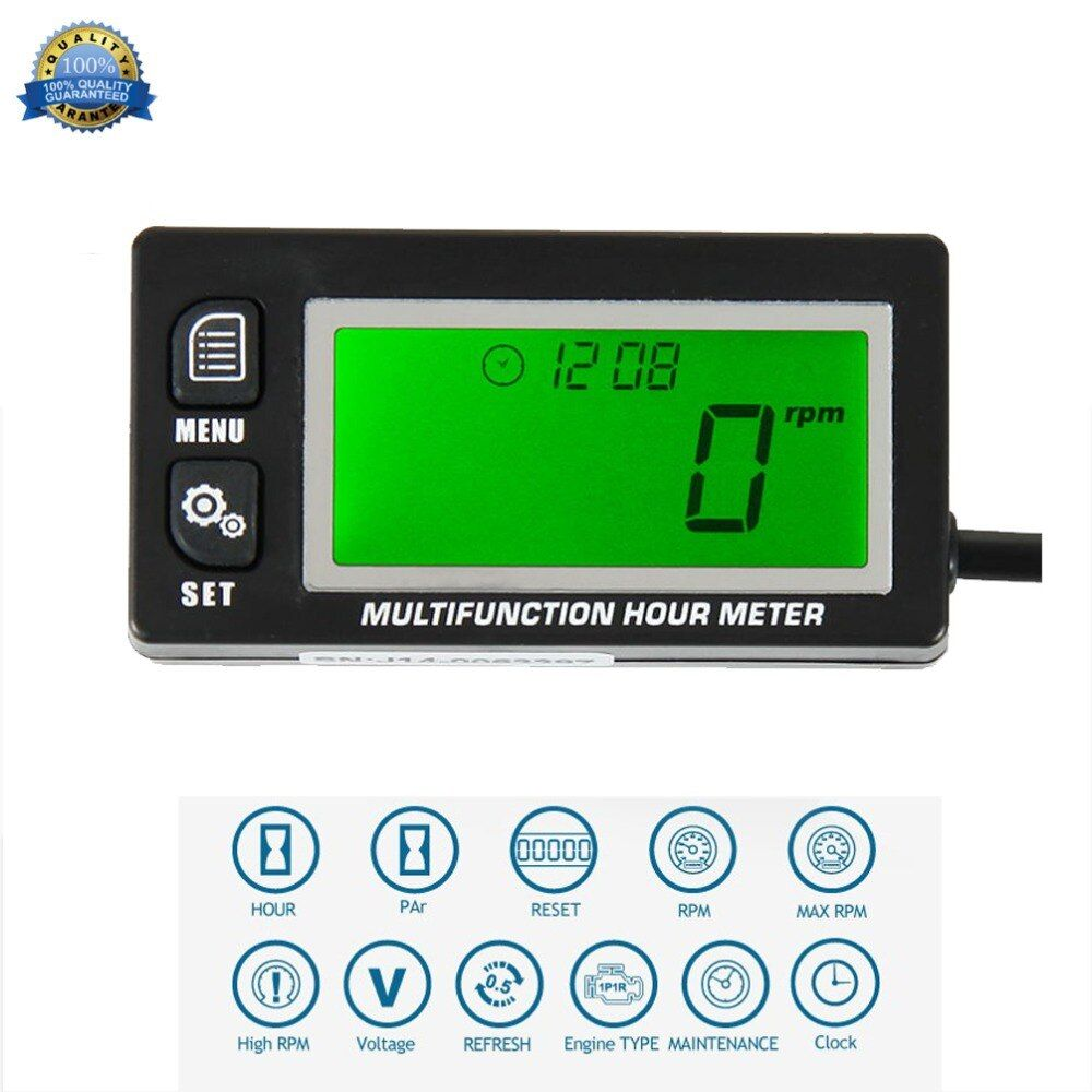 Multifunction Hour Meter Tachometer Voltmeter with Clock 2 & 4 Stroke for Small Engine Boat Outboard Mercury Motocross RL-HM028