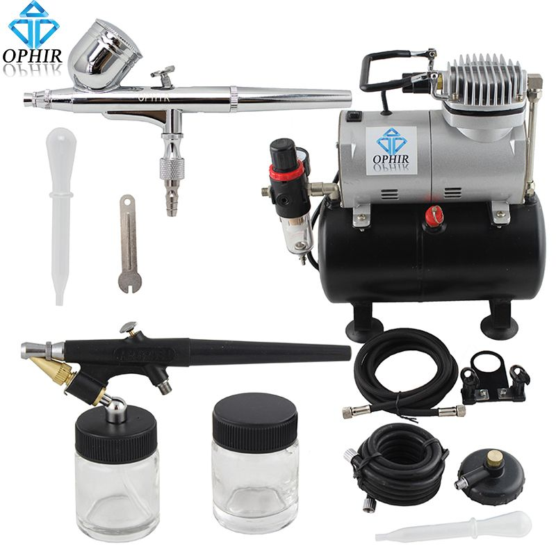 OPHIR 0.3mm & 0.8mm 2-Airbrush Gravity Dual-Action Kit Tank Air Compressor 110V, 220V for Hobby Paint Makeup _AC090+AC004A+AC071