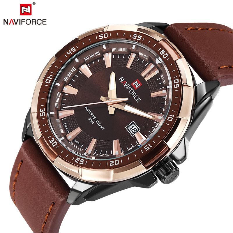 2018 NAVIFORCE Brand Men's Fashion Casual <font><b>Sport</b></font> Watches Men Waterproof Leather Quartz Watch Man military Clock Relogio Masculino