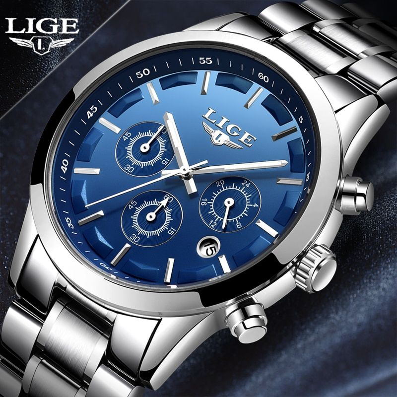 2018 New Men Watch LIGE Top Brand Luxury Business Quartz Watch Stainless Steel Waterproof Military Relojes Relogio Masculino+Box