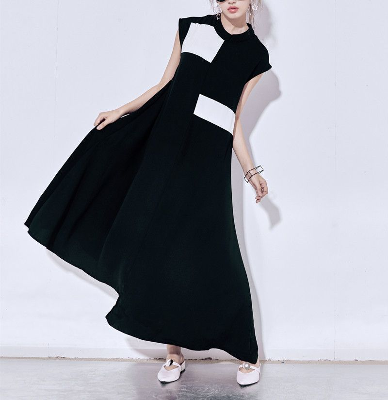 2018 spring and summer new color small stand asymmetrical large dress casual dress 265