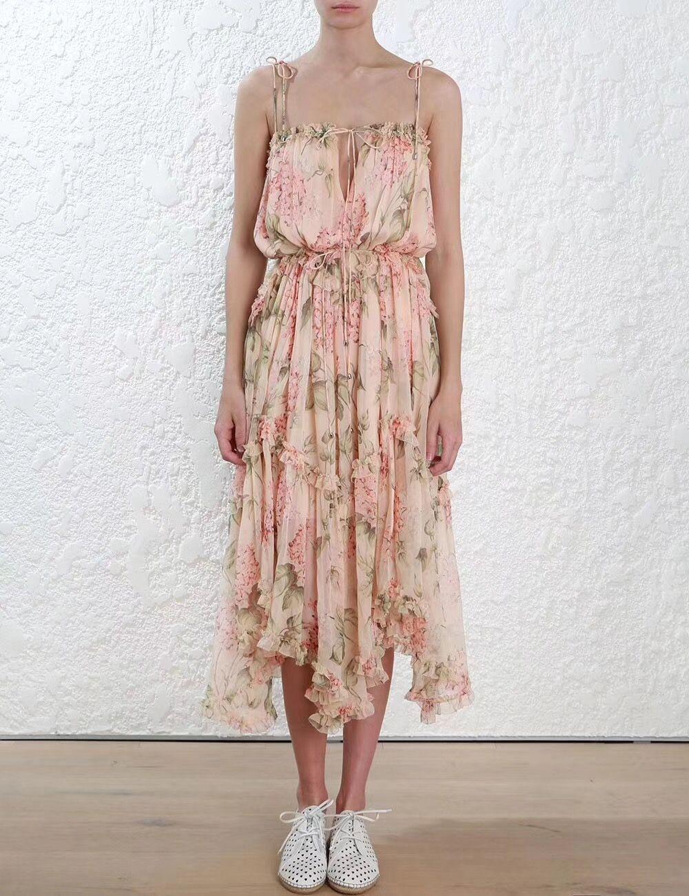 Frauen spaghettie gurte prima asymmetrische rüschen floral-print seide georgette midi kleid