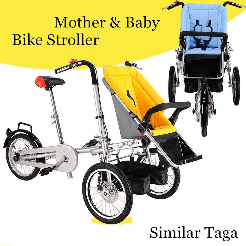 2018 Mother And Baby Bike Car Stroller Parent-Child Twins Bicycle Strollers Foldable Baby Trolley with Rain Cover/Mosquito Net