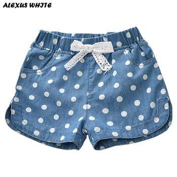 Été 2018 Filles Denim Shorts Jeans Shorts Enfants Vêtements Belle Pois Bébé Western Coton Lin Beachwear Pantalon 2-7Y