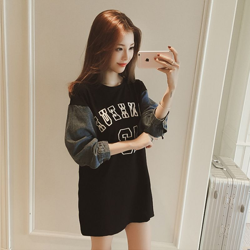 2017 Autumn New Round Neck Jeans Stitching Loose Letters Printing Long Paragraph Wild Women Dress AXD1663