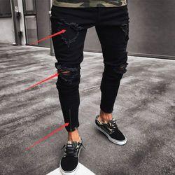 Mode Hommes Ripped Skinny Jeans Trou Détruits Effilochés Slim Fit Zipper Denim Pantalon
