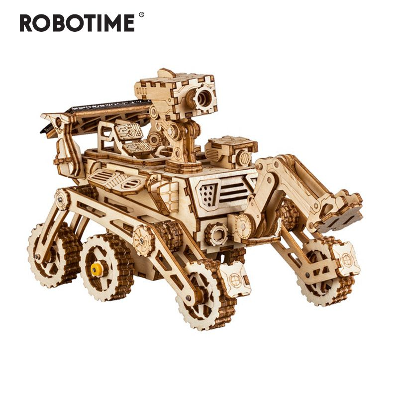 Robotime Wooden Solar Energy Powered 3D Moveable Space Hunting DIY Model Building Creative Toy Gift for Child Adult LS402