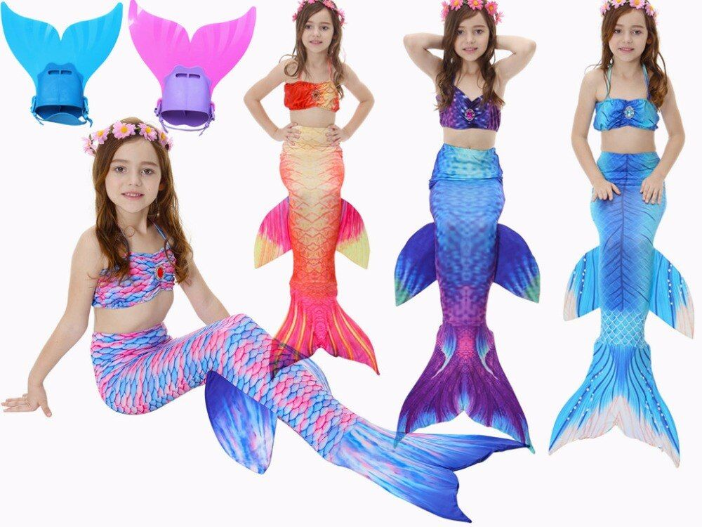 4PCS/Set Swimmable Children Diamonds Mermaid Tail With Monofin Fin Girls Kids Swimsuit Mermaid Tail Costume for Girls Swimming