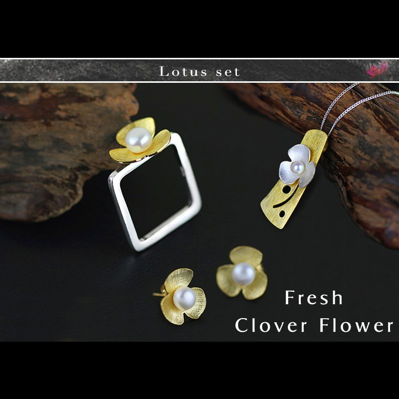 Lotus Fun Real 925 Sterling Silver Natural Pearl Handmade Fine Jewelry Square Fresh Clover Flower Jewelry Set for Women Bijoux