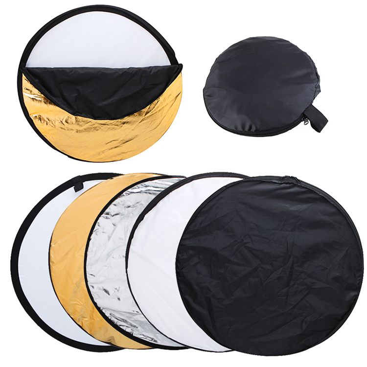 2 sets 22 inch 56cm 5 in 1 Portable Collapsible Light Round Photography Reflector for Studio Multi Photo Disc