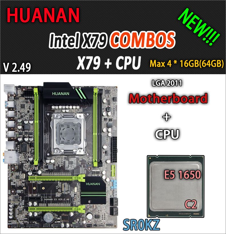 HUANAN golden V2.49 X79 motherboard LGA2011 ATX combos E5 1650 C2 SR0KZ USB3.0 SATA3 PCI-E NVME M.2 SSD port support 4 x 16G RAM