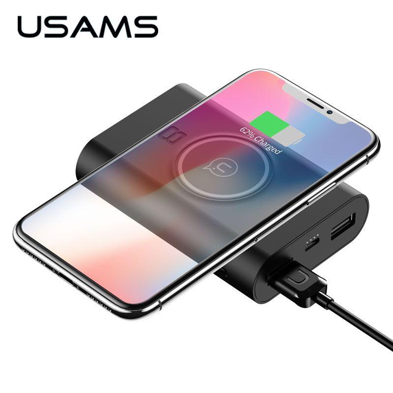 USAMS 5 v 2A 2 USB Ports 8000 mah QI Drahtlose Ladegerät 5 watt Pad Power Bank Eingebaute Drahtlose Lade universal Power Bank