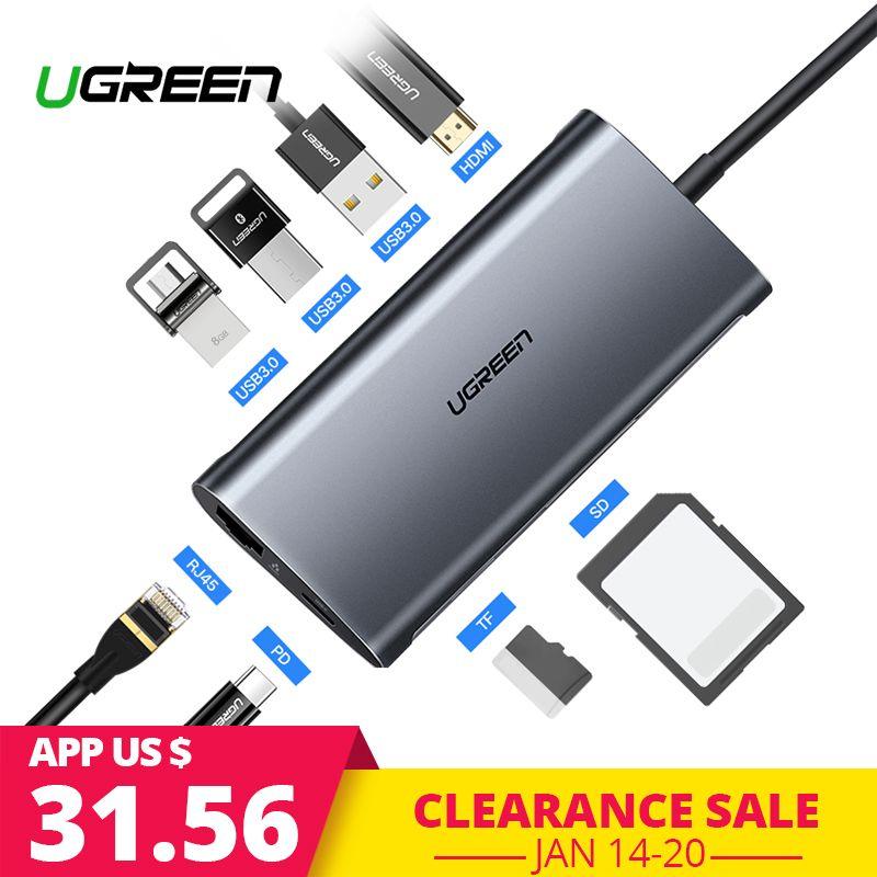 Ugreen USB HUB USB C à HDMI RJ45 Thunderbolt 3 Adaptateur pour MacBook Samsung Galaxy S9 Huawei Compagnon 20 P20 pro Type C USB 3.0 HUB