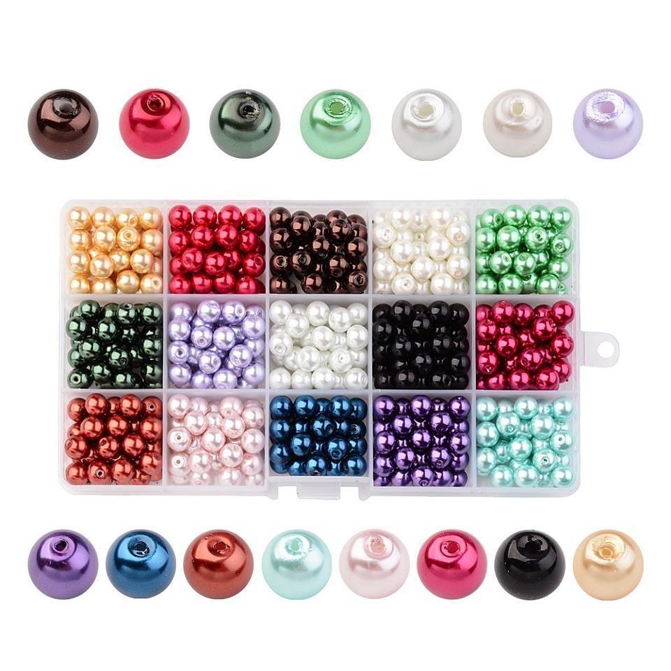 Cuentas de Perlas de Vidrio Nacarado del Color mezclado Redondo para La Joyería Que Hace Diy 4mm 6mm 8mm 10mm, 15 Colores/caja