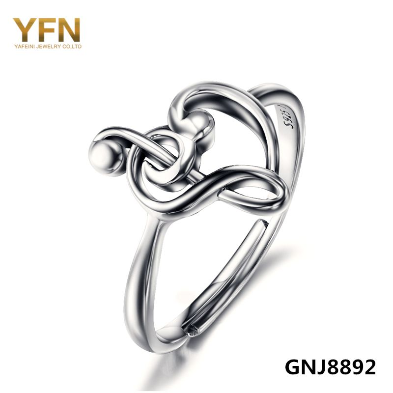 GNJ8892 100% Pure 925 Sterling Silver Jewelry Treble Clef Bass Heart <font><b>Ring</b></font> Musical Note Jewelry Fashion <font><b>Rings</b></font> For Women