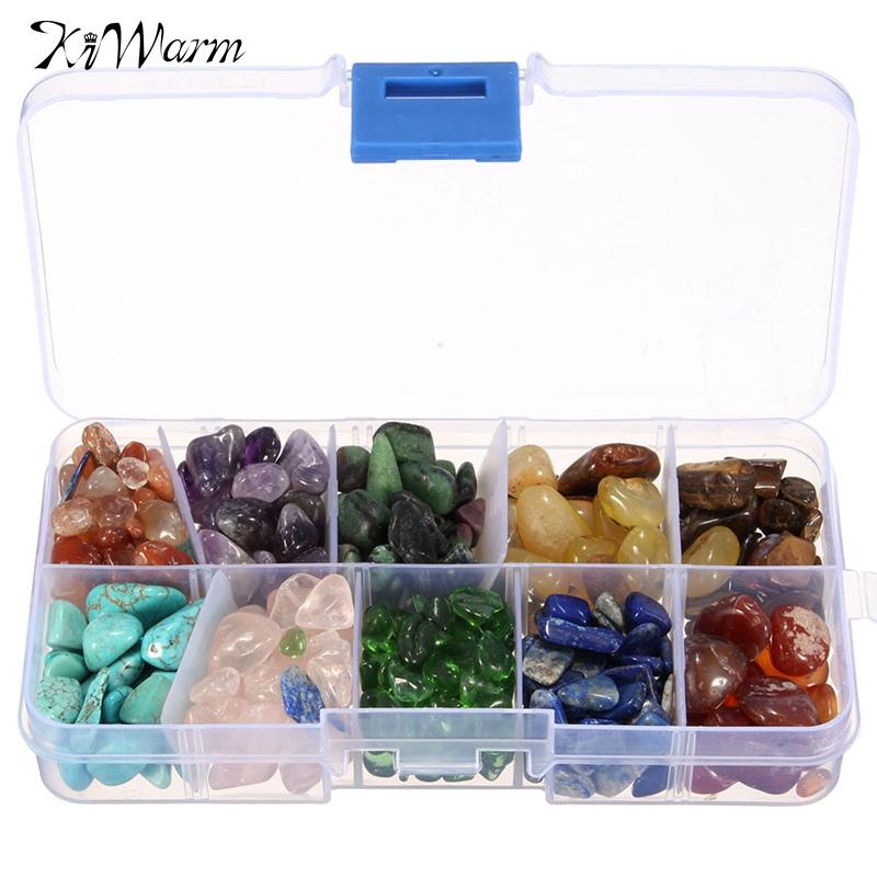 KiWarm 255g dix sortes pierre naturelle Quartz cristal roche puces énergie cristal pierres Miniatures mousse Terrarium fleur Pot décor