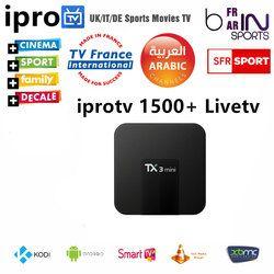1 Année Europe Arabe IPTV android tv box avec 1500 + Français ROYAUME-UNI portugal Allemagne Espagne Afrique Canaux Livraison Gratuite