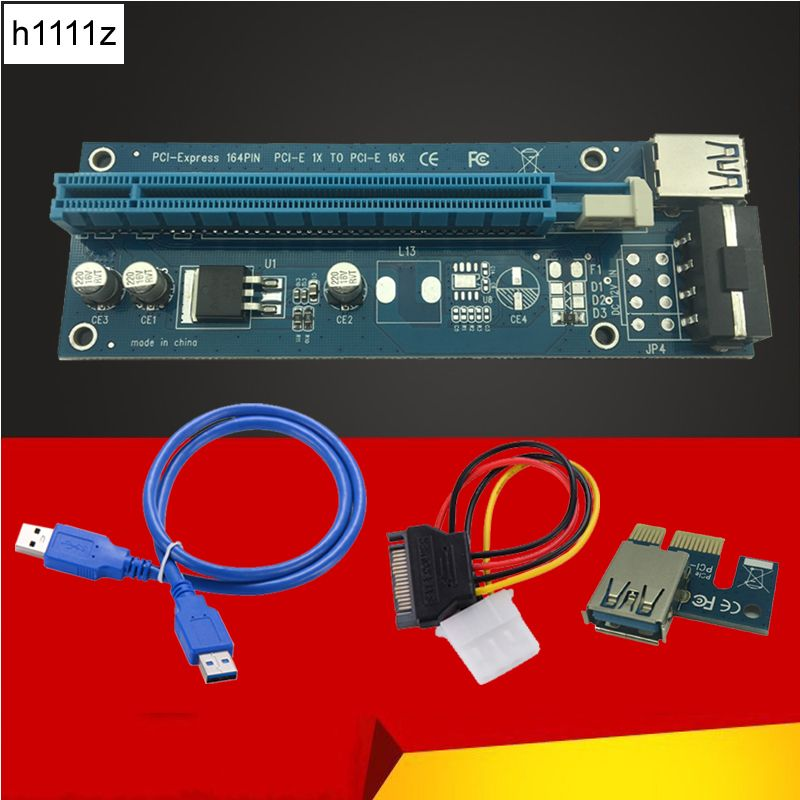 60CM PCI-E Riser Card PCIE 1x to 16x Extender with USB 3.0 Cable + SATA to 4Pin IDE Molex Power Supply for BTC LTC Miner