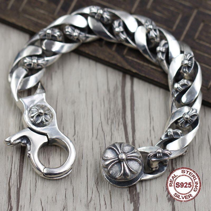 S925 männer armband in Sterling Silber Persönlichkeit trend quer dominierenden modellierung Punk stil retro klassische Senden ein geschenk zu liebe