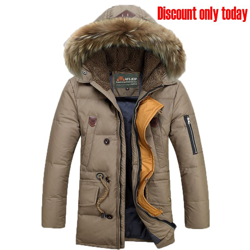 New listing 2018 Winter Afs Jeep Men Down Parkas Jackets Fashion Man Hooded Thick Warm Outwear Overcoat Wadded Coat 160