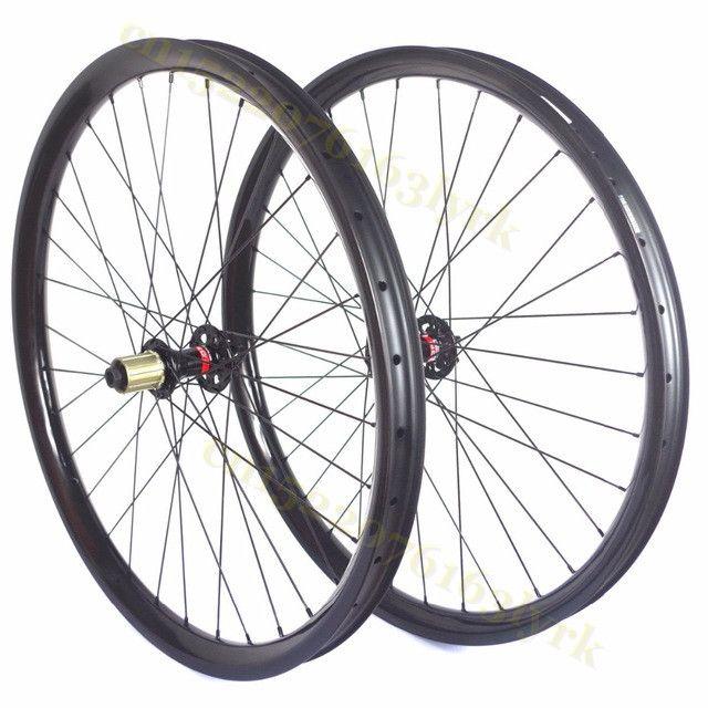 Boost Wheels 27.5 38.5mm Carbon Wheel Clincher MTB Bike Bead Tubeless Thru Axle QR UD Matt 29er Left Bicycle Wheel Set