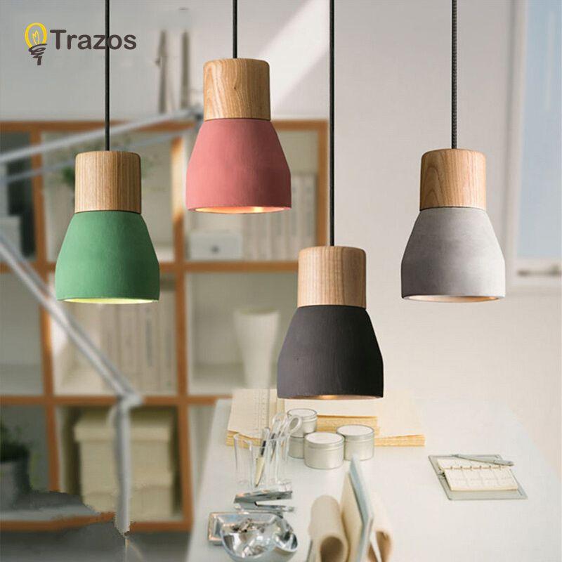 Lampe pendante de ciment de Style campagnard américain 120cm fil E27/E26 douille Droplight 4 couleurs bois décoration d'intérieur lampe suspendue