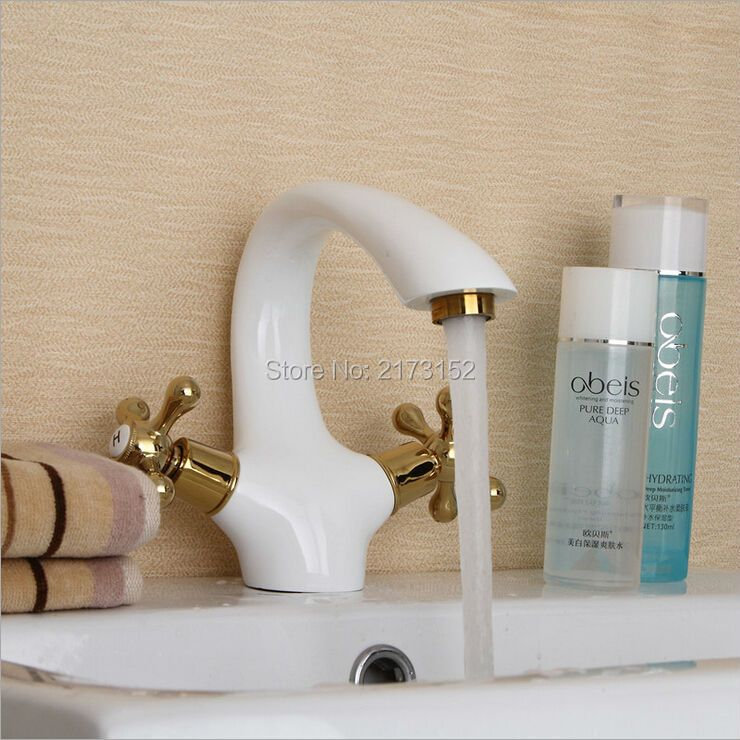 Free Shipping Luxury Grilled White Painted Bathroom Faucet Gold Wheel Handle Brass Basin Sink Mixer Tap W-005