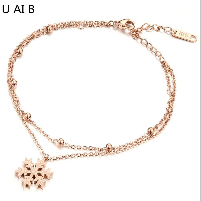 Titanium girls foot chain anklets double snowflake Christmas chain ankle bracelet jewelry legs chain ankle bracelet anklet