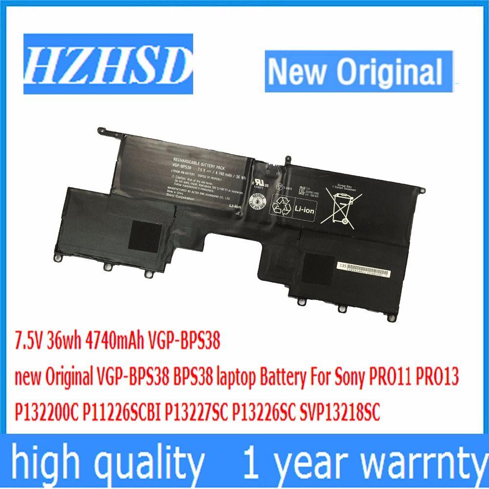 Bps38 7.5 В 36wh 4740 мАч новый оригинальный vgp-bps38 ноутбука Батарея для Sony Pro11 Pro13 p132200c p11226scbi p13227sc svp13218sc