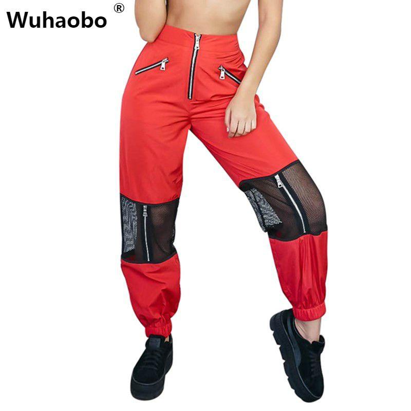 Wuhaobo 2018 Mesh Patchwork Zipper straighht Pants Women Loose Casual High Waist Trousers Fashion Femme Streetwear Pantalon