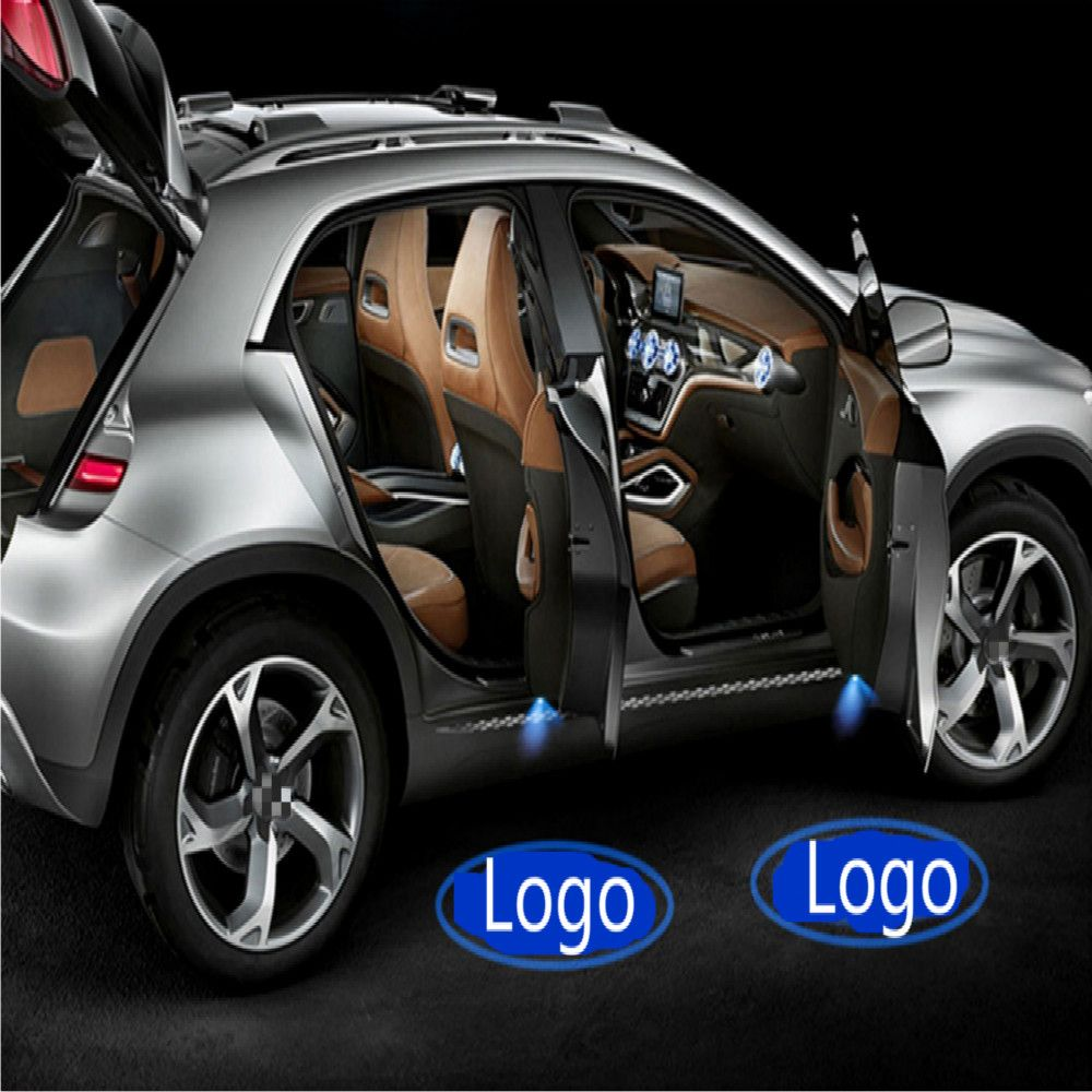 JURUS 2pcs Wireless Car Door Welcome light Logo No Drill Type Badge For Arsenal Chelsea  Juventus Real Madrid AC Milan CLUB Logo