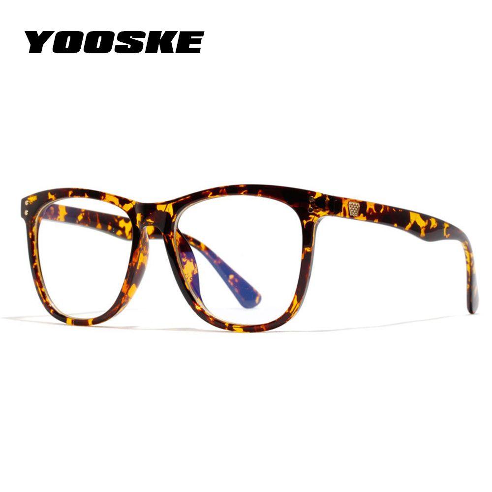 YOOSKE Vintage Anti Blue ray Glasses Frame Women Reading Goggle Blue Light Proof Glasses Computer Transparent Optical Eyewear
