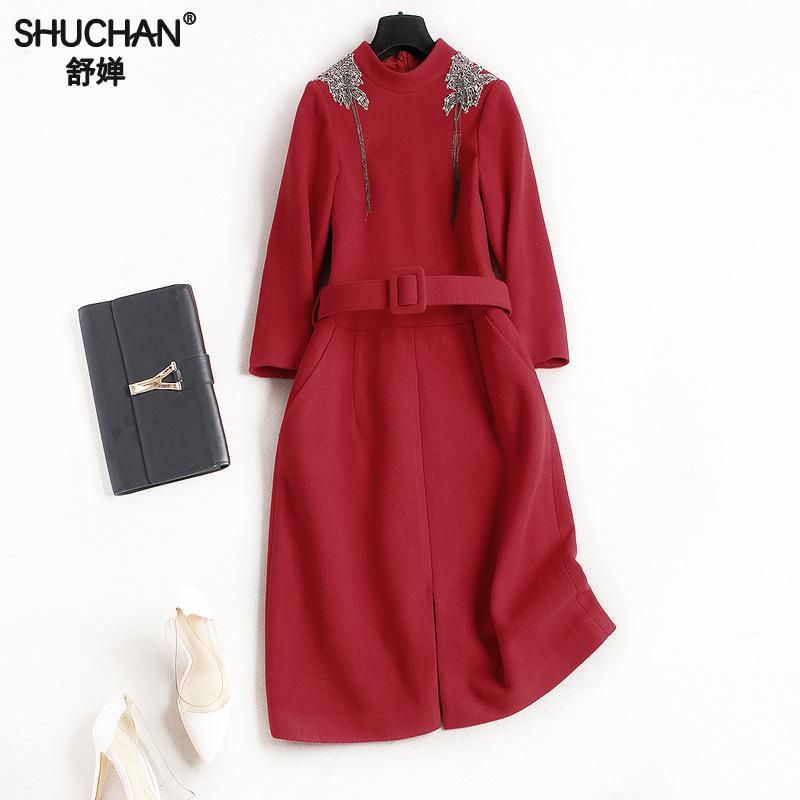 SHUCHAN Dresses  Winter Thick Red Wrist Sleeve Beading Dresses For Women Vestido Clothes For Women Women's Clothing 8670