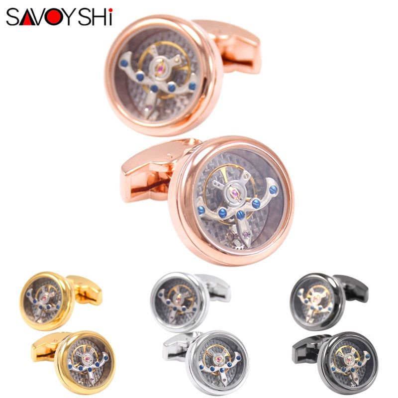 SAVOYSHI Functional Tourbillon Mechanical Watch Cufflinks for Mens French Shirt Brand Cuff bottons Cuff links Gift Men Jewelry