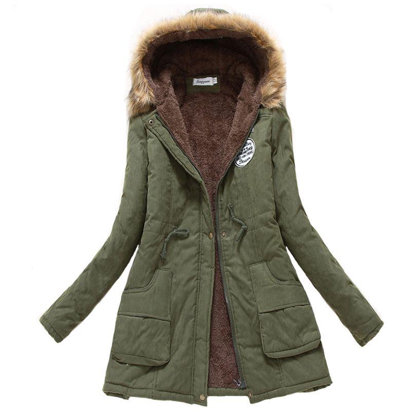 2018 winter jacket women wadded jacket female outerwear slim winter <font><b>hooded</b></font> coat long cotton padded fur collar parkas plus size