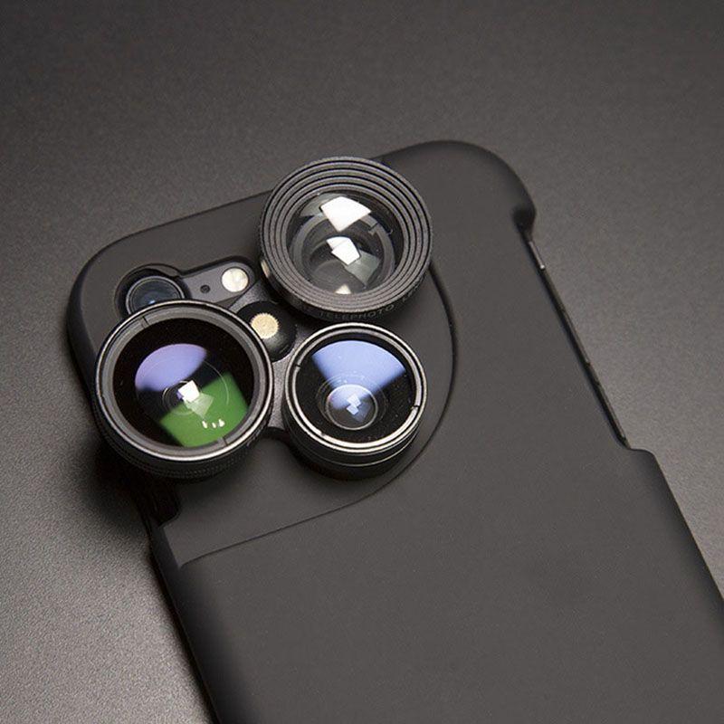 Cas pour iPhone 7 7 Plus pour iPhone 6 6 S Plus Caméra Améliorer Len Sauvage-angle Fisheye Macro Lentille Cas Pour iPhone 7 6 S 8 Plus Funda