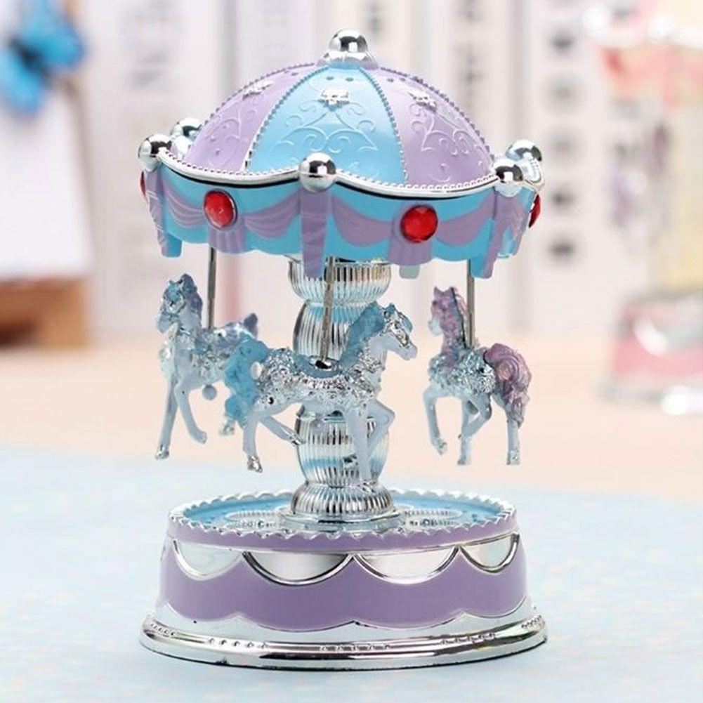 Emitting Horse Carousel Music Box Toy Light Romantic Clockwork Beautiful high quality