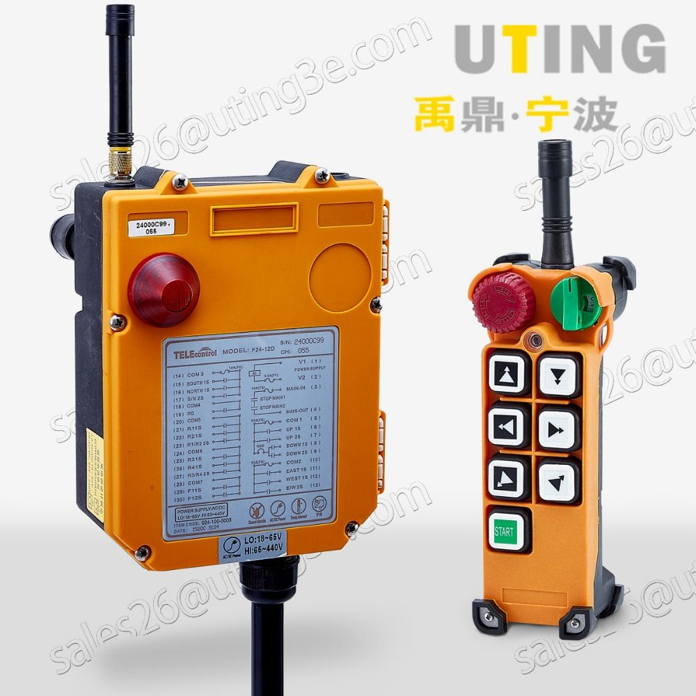 Telecontrol F24-6D industrial radio remote control AC/DC universal wireless control for crane 1transmitter and 1receiver