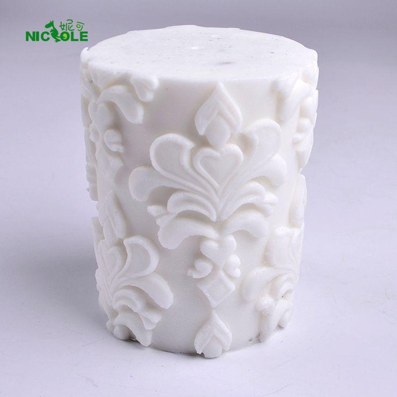 3D Silicone Savon moule à bougie de Secours Classique Cylindre Moule pour La Main Artisanat décoration pour cake Outil