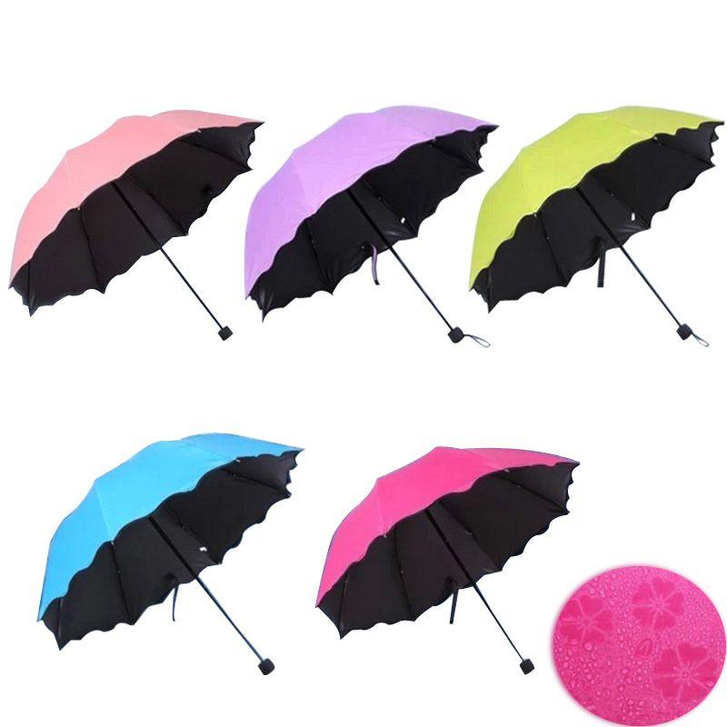 Nouveau Lady Princesse Magique Fleurs Dôme Parasol Sun/Pluie parapluie pliant prain femmes parapluie transparent brass knuckles Pour Femmes