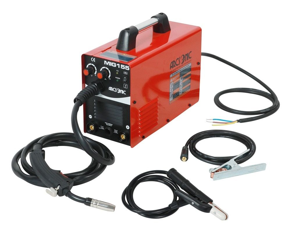 Gas/No Gas IGBT Arc Mig Welder 220V MIG155 Flux Core Wire Steel Welding Machine Portable DC 2 in 1 Mig Welding MMA Welding