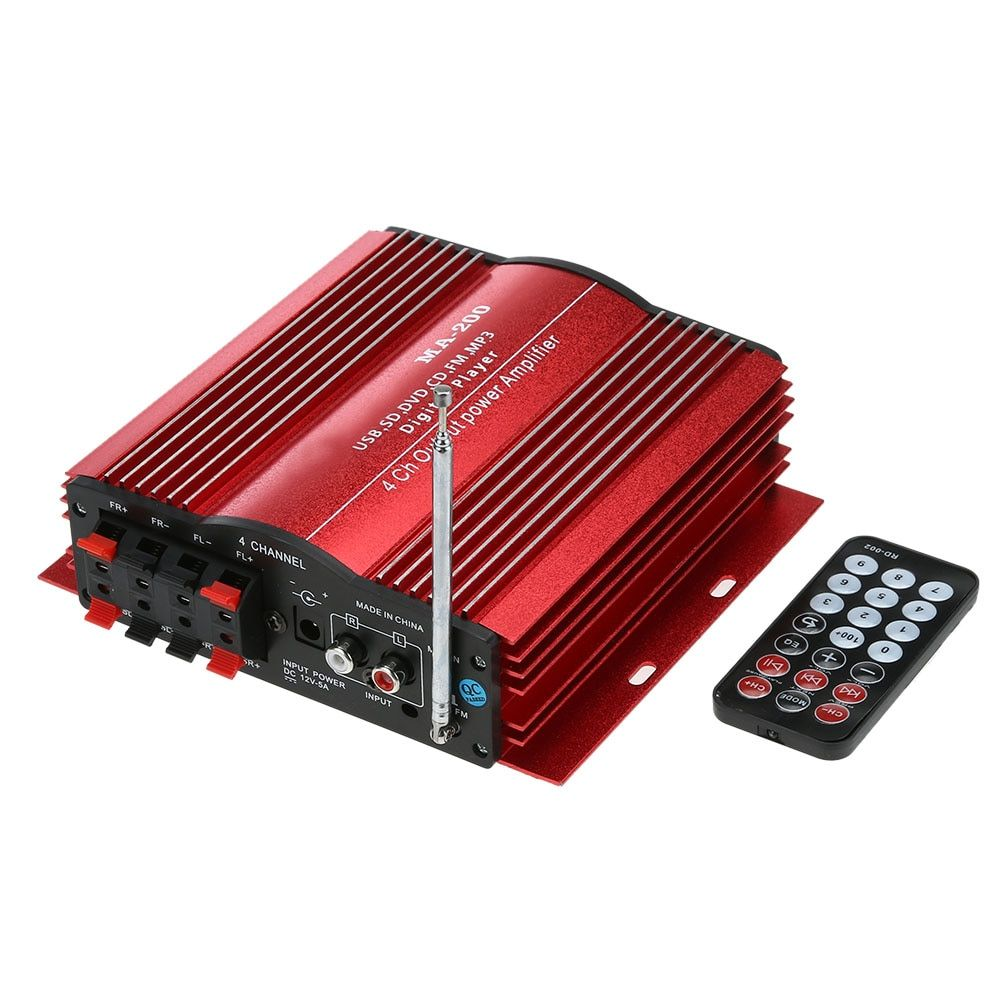 4 Channel Home Car Audio Amplifier Auto 4 CH HiFi Audio Power Amplifier USB SD MMC MP3 Digital Player with Remote Controller