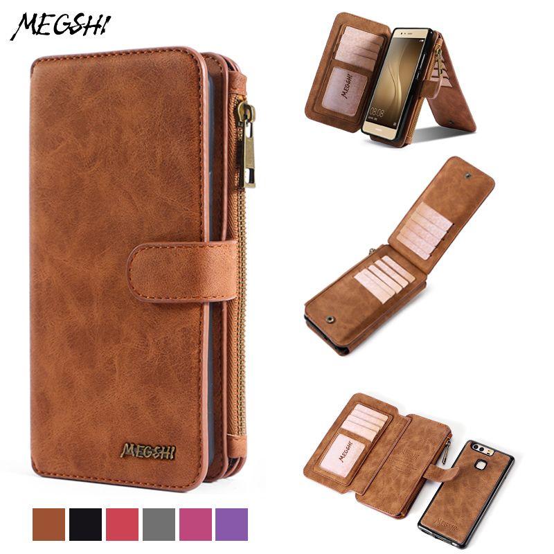 MEGSHI pour Huawei P10 plus étui, coque de téléphone portable de luxe support magnétique portefeuille pour Huawei P9 étui multi-fonction étui portefeuille